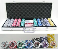JP Commerce High Roller Clay Poker Chips w/ Laser Effects Dealer Button 500pc