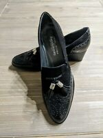 """Stuart Weitzman for Russell and Bromley Black """"Girl Thing"""" Tassel Brogues SZ 4.5"""