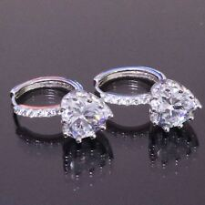 1CT White Heart Cubic Zirconia Huggie Earrings Women Jewelry White Gold Plated