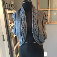 Moth Anthropologie Women Gray Cable Knit Alpaca Wool Sleeveless Shrug Sweater M