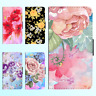Galaxy Note 9 8 S9 S8 Plus S7 PU Leather Flip Wallet Case Flower Floral V Cover