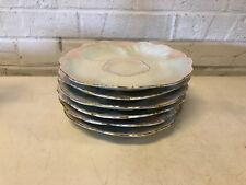 Antique Porcelain Set of 6 Pink and Gold Decorated Oyster Plates