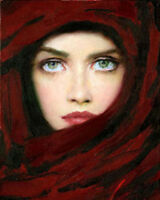 CHOP339 hand-painted Arab girl portrait art oil painting on canvas