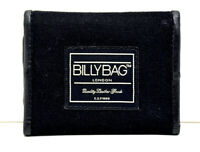 Billy Bag London Mens Leather and Fabric Trifold Wallet Black