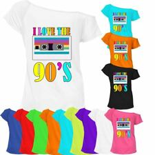 Ladies I Love The 90s T-shirt Top Off Shoulder Retro Party Fancy Outfit 6903Lot