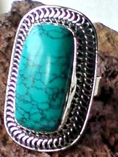 HANDCRAFTED SOLID STERLING SILVER 40mm. TURQUOISE CABOCHON RING UK.size W £45.95