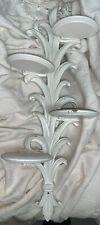 "Vintage SYROCO WOOD 22.5"" 4 Tier White Wall Shelf Fleur De Lis"