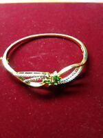 "Vintage $6000 2ct Emerald & Diamond 18k Yellow Gold Over 7"" Bangle Bracelet"