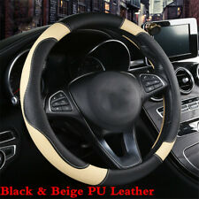 Car 15inch Black/Beige Stitching Steering Wheel Cover Non-slip PU Leather 38cm
