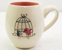 Rae Dunn Bubble Coffee Mug M Stamp Magenta Birds Birdcage Pink Inside New