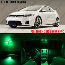 6PCS Green Interior LED bulbs for 2006-2012 Honda Civic White for License Plate