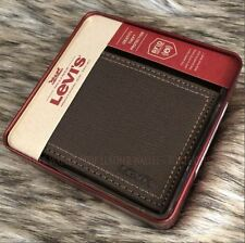 Levi's Men's Leather Brown RFID Security Wallet