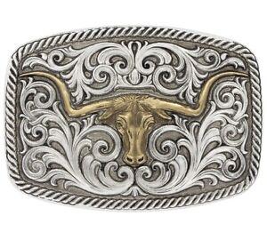 "Montana  Antiqued Two Tone Champion Texas Longhorn Belt Buckle, 3.75"" x 2.625"""