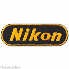 Nikon Camera Gold Logo Sew Embroidered Iron-On Patches Jacket Bag Vest Cap #0386