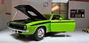 1:24 Echelle 1970 Plymouth Cuda barracuda Vert Voiture Miniature Neuf Ray 71873