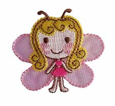 Pink butterfly girl brodé fer sur applique