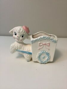 Vintage Baby Planter White French Poodle Girl Boy 1950s Japan Kitsch Pastel Cute