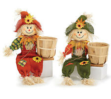 Sitting Scarecrow Pair with Basket Fall decor