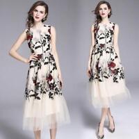 Women's Summer Vogue Temperament Floral Embroidery Flowers Sleeveless Dress 2018