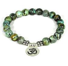 GENUINE African Turquoise Healing Energy Bracelet w/ Silver Om Symbol US SELLER