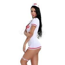 4Pc Women's Nurse Doctor Uniform Costume Lingerie Cosplay Fancy Dress Outfits
