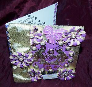 Glückwunschkarte Grußkarte zum  Geburtstag Sternzeichen Zwilling Gold Lila