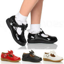 GIRLS KIDS CHILDRENS FLAT T-BAR BOW MARY JANE BUTTERFLY SMART SCHOOL SHOES SIZE