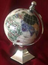 SEMI-PRECIOUS STONE GLOBE / MAP PAPERWEIGHT NAUTICAL PLANET