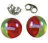"Tiny Glass Post EARRINGS 1/4"" 7mm Clear Green Red White Stripe Fused GLASS STUDS"