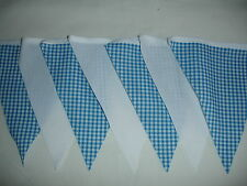 BLUE AND WHITE FABRIC BUNTING ( NURSERY,CHRISTENING,BABY SHOWER )