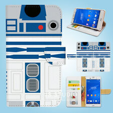Sony Xperia Z2 Z3 Flip Wallet Case Cover Star Wars R2D2 W087