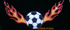 US SOCCER BALL WITH FLAMES ON FIRE PATCH WORLD CUP OLYMPICS FIFA FOOTBALL MLS