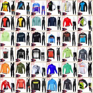 2021 Mens Team Cycling Long Sleeve Jersey Bib Pants Suit Bike Outfits Sportswear