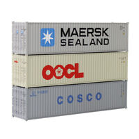 3pcs HO Scale 40ft Shipping Container 1:87 Freight Car Maersk Sealand OOCL COSCO