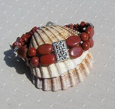 "Red Jasper Gemstone Crystal Beaded Cuff Bracelet ""Silken Sunrise"""