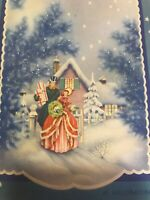 Vintage Christmas Card Art Deco Glitter Blue Trees Town People Walking Shopping
