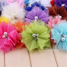 120PCS Mesh Hair Artificial Flowers With Rhinestones+Pearls For Headband Hair