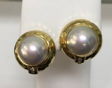 18k Yellow Gold Round Mabe Pearl & 4 Diamonds .12ct. Total Weight Earrings