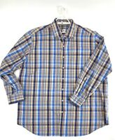 Peter Millar Button Down Shirt Mens Size XXL 2XL Blue Plaid Long Sleeve Casual