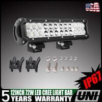 12 inch Dual LED Light Bar Driving Fog Lamp Bumper ATV Offroad 4WD Boat SUV