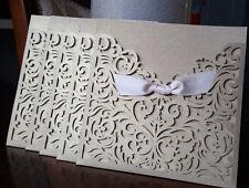 Laser Cut Wedding Invitation Card Holders, Inserts, Envelopes & Seals, 5 packs