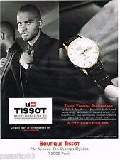 PUBLICITE ADVERTISING 065  2011  TISSOT montre VISODATE AUTOMATIQUE TONY PARKER