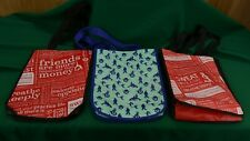 3 Lululemon Resuable Small Shopping Bags Blue Seawheeze 2013 & Red Manisfesto