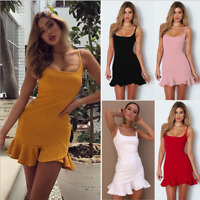 Women's Boho Chiffon Summer Party Evening Beach Short Mini Dress Sundress