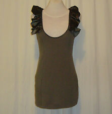SASS&BIDE DARK KHAKI GREEN BODY CON MINI DRESS US 4 AUS 8 SHOW STOPPERS