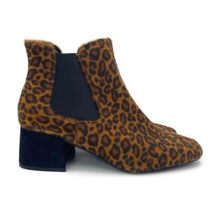 M&S Brown Suede Animal Print Chelsea Boots Ankle Booties UK 7.5 EUR 41