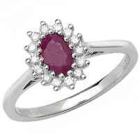 Diamond and Ruby Ring White Gold Engagement Large Size R-Z Certificate Appraisal