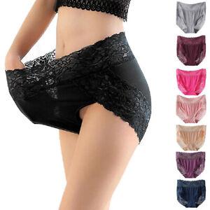 Women's High Waist Floral Lace Plus Size Panties Sexy Lingerie Underwear Briefs