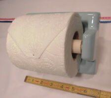 "Vintage *Pastle Blue* Recessed Ceramic Toilet Paper Holder ""NOS""  Wood Roller"