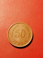 *Finland   50 penni 1942 Copper *Good condition 1+ *Small  S*RARE*